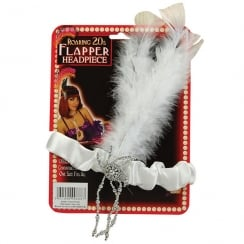 Flapper Headpiece White Feathers