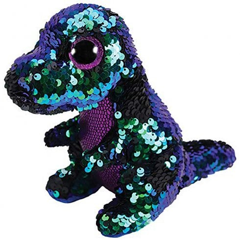 TY Flippables Crunch Dinosaur Medium Size Sequins Soft Toy
