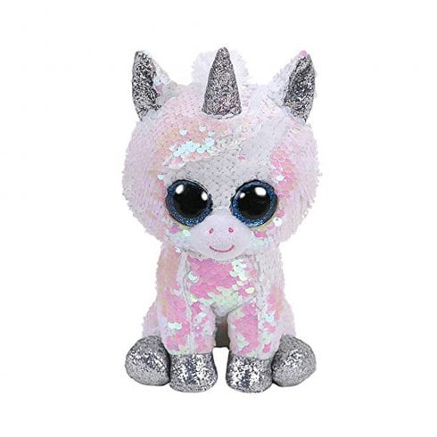 TY Flippables Diamond White Unicorn Regular Size Sequins Soft Toy