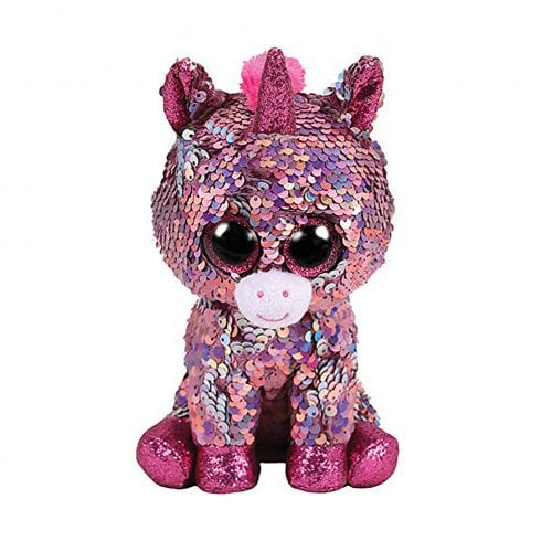 TY Flippables Sparkle Pink Unicorn Regular Size Sequins Soft Toy