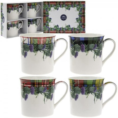 Lesser & Pavey Floral Tartan Box of 4 Mugs