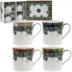 Floral Tartan Box of 4 Mugs