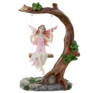 Flower Fairy On Swing Figurine