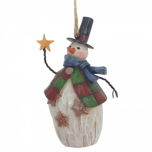 Jim Shore Heartwood Creek Folklore Snowman With Top Hat Hanging Ornament