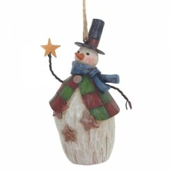 Folklore Snowman With Top Hat Hanging Ornament
