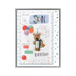 For A Great Son Best & Happiest Birthday Boxed Large Barley Party Bear With Balloons Card