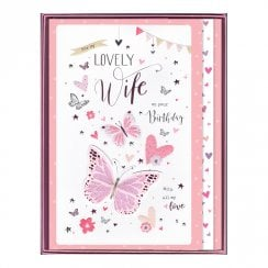 For My Lovely Wife On Your Birthday Boxed Large Butterflies Card