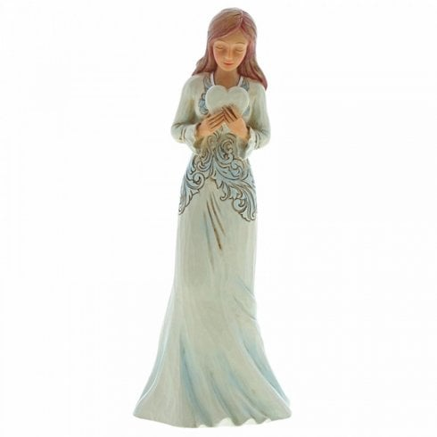 Jim Shore From The Heart Forever In My Heart Girl Holding Heart Figurine