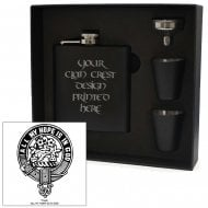 Fraser Clan Crest Black 6oz Hip Flask Box Set