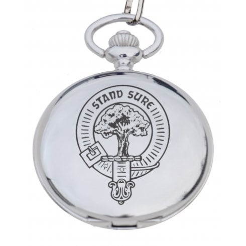 Art Pewter Fraser (of Lovat) Clan Crest Pocket Watch