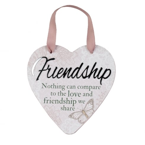 Reflective Words Friendship Hanging Heart