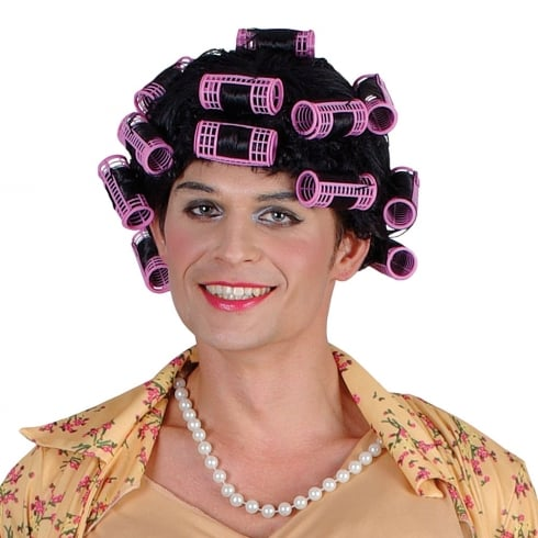Funny Housewife with Rollers