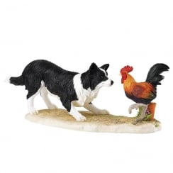 Game On Border Collie and Cockerel Figurine