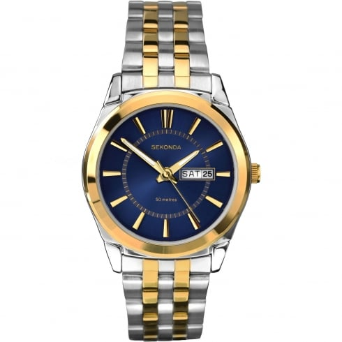 Sekonda Gents Two-Tone Steel and Gold Plated Watch with Day/Date Display