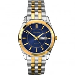 Gents Two-Tone Steel and Gold Plated Watch with Day/Date Display