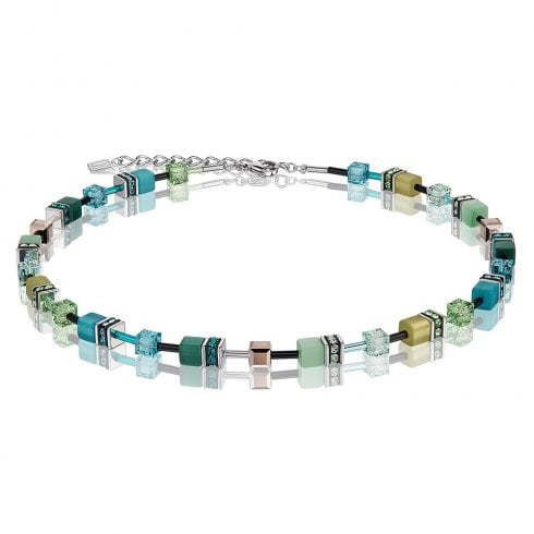 COEUR DE LION GeoCUBE Multicolour Green-Petrol Necklace