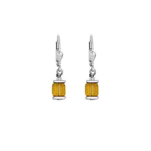 COEUR DE LION GeoCUBE Swarovski Crystals Citrine Earrings