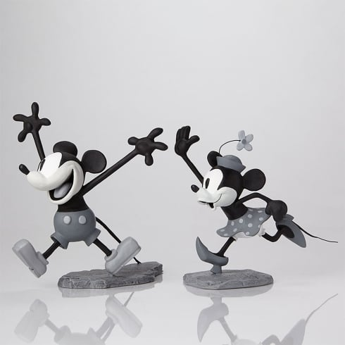 Disney Archives Collection Get A Horse Mickey and Minnie Maquettes Black and White Reproduction