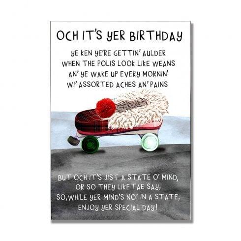 Embroidered Originals Gettin Aulder Slipper Scottish Birthday Card