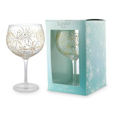 Gin & Tonic Glass - Gold Snowflake