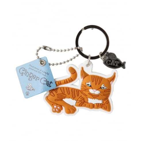 Wags & Whiskers Ginger Cat Keyring - lying