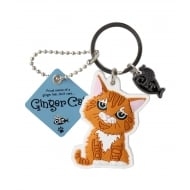 Ginger Cat Keyring - sitting