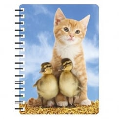Ginger Kitten with Ducklings 3D Notebook