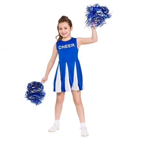 Wicked Costumes Girls Cheerleader -Blue (8-10) Large