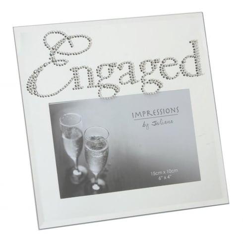 Glass Mirror Diamante Crystal Word Engaged 6 x 4 Photo Frame FG492EN
