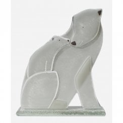 Glass Polar Bear With Cub
