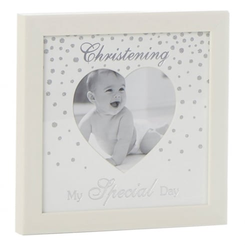 Shudehill Giftware Glitter Dot Christening Heart Photo Frame