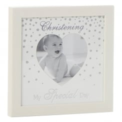 Glitter Dot Christening Heart Photo Frame