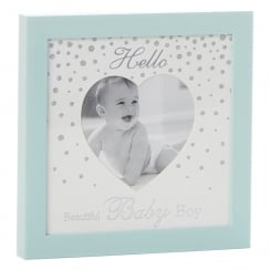 Glitter Dot Hello Beautiful Baby Boy 4 x 4 Heart Photo Frame