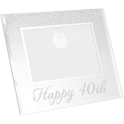 Lesser & Pavey Glitter Mirror Frame Happy 40th 4x6