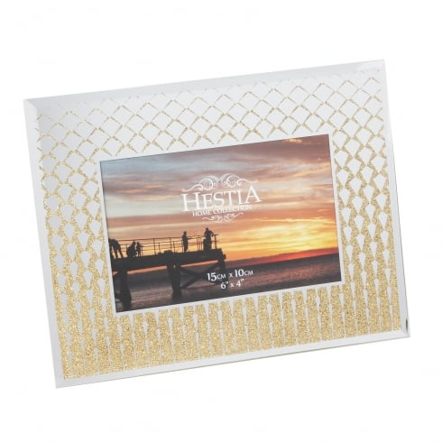 Hestia Gold Glitter Edge 6 x 4 Mirrored Photo Frame