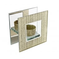 Gold Glitter Mirror & Glass Square Tea Light Holder