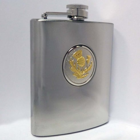 A E Williams Gold Thistle Hip Flask