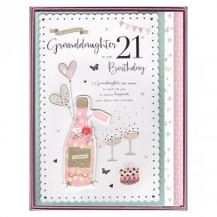 Granddaughter On Your 21st Birthday Champagne Boxed Large Card
