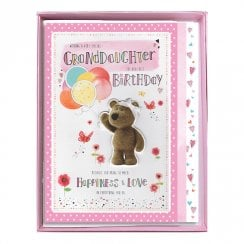 GrandDaughter The Very Best Birthday Boxed Large Barley Bear With Balloons Card