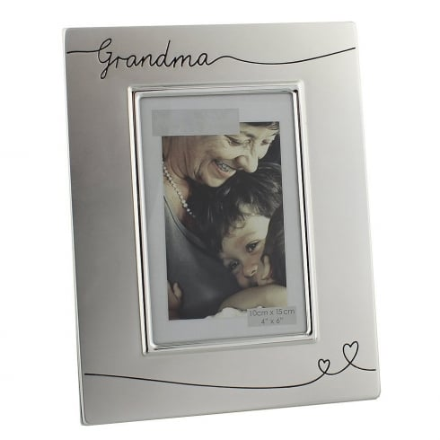 Impressions By Juliana Grandma 2 Tone Silver 4 x 6 Photo Frame With Heart Design