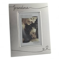 Grandma 2 Tone Silver 4 x 6 Photo Frame With Heart Design