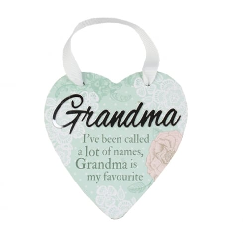 Reflective Words Grandma Hanging Heart