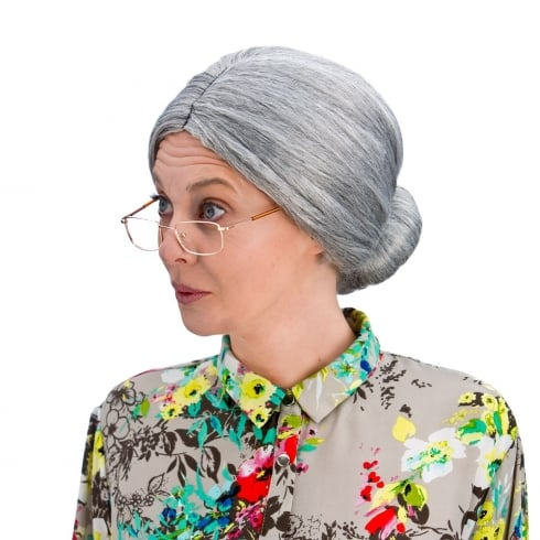 Wicked Costumes Granny Bun Wig - Grey