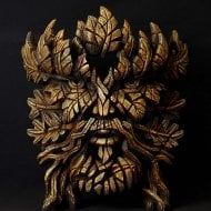 Green Man Bust - Smouldering Rust