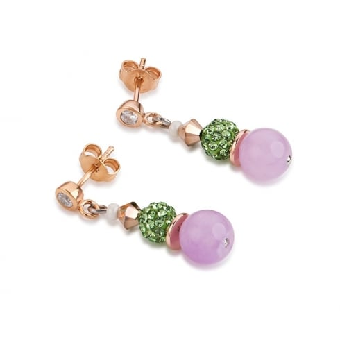 COEUR DE LION Green-Rose Swarovski Crystal with Agate and Mother of Pearl Earrings with Stickpin