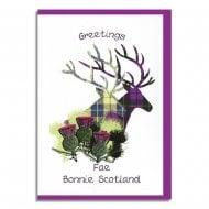 Greetings Fae Bonnie Scotland Tartan Stag Card