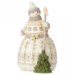 Greetings from the Woods White Woodland Snowman with Broom