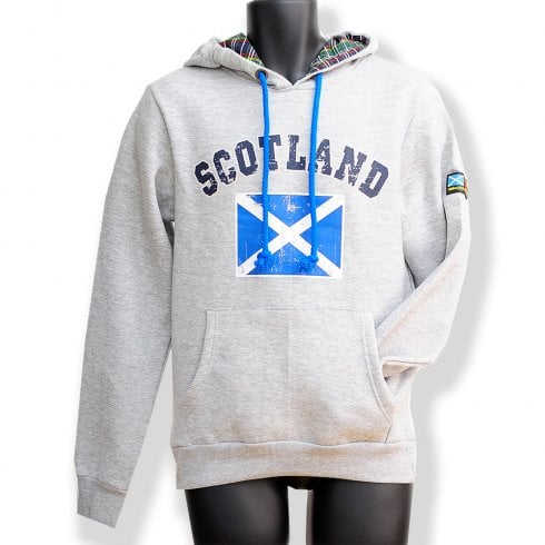 Wallace Of Scotland Grey Saltire Flag Mens Distressed Hoodie LARGE