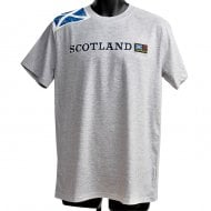 Grey Shoulder Saltire Flag With Scotland Text T-Shirt L