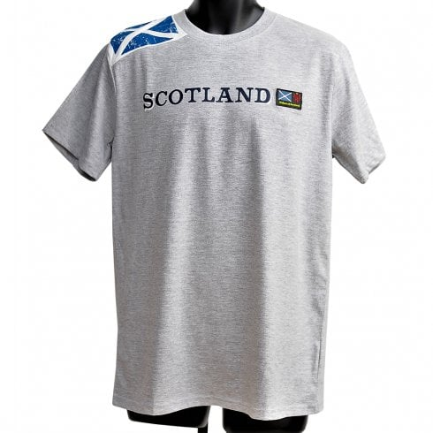 Wallace Of Scotland Grey Shoulder Saltire Flag With Scotland Text T-Shirt M